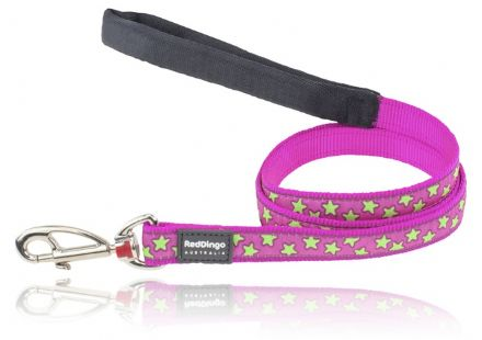 Red Dingo Dog Lead Hot Pink and Lime Green Stars